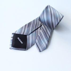 New! Murano Silk Tie Ombre Blue Grey Stripes